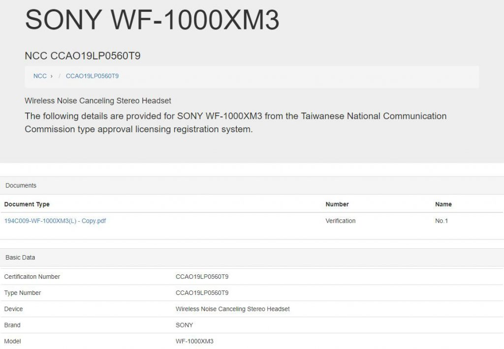 Thông tin rò rỉ WF-1000XM3